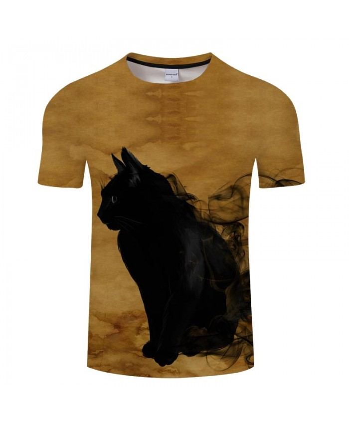 Cat Black Smoke 3D Printed Men tshirt Crossfit Shirt Casual Summer Short Sleeve Male tshirt Brand Men Round Neck Top