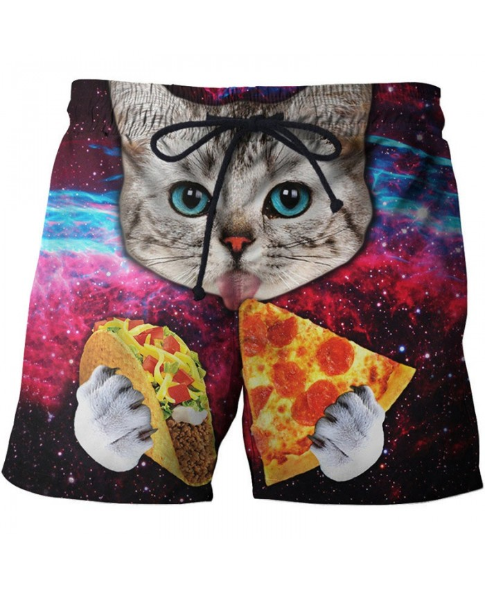Cat Eating Pizza 3D Printed Men Board Short Male Quick Dry Breathable Beach Short Summer Casual Male Clothing Short