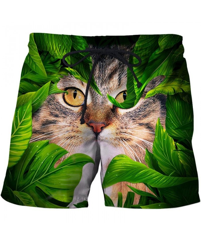 Cat In The Leaves 3D Print Men Shorts Casual Cool Elastic Waist Men Stone Printed Beach Shorts Male Fitness Shorts