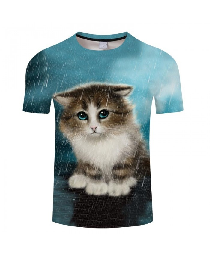 Cat In The Rain 3D Printed Men tshirt Crossfit Shirt Casual Summer Short Sleeve Men Brand T Shirt Men Round Neck