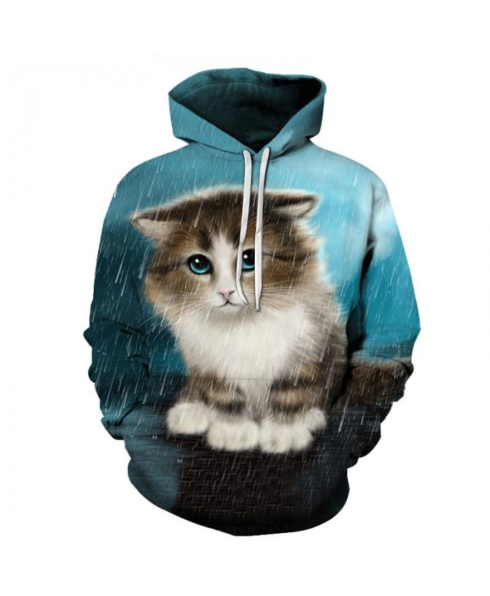 Cat In The Rain 3D Printed Mens Pullover Sweatshirt Pullover Casual Hoodie Men Streetwear Sweatshirt Clothes Hoodie