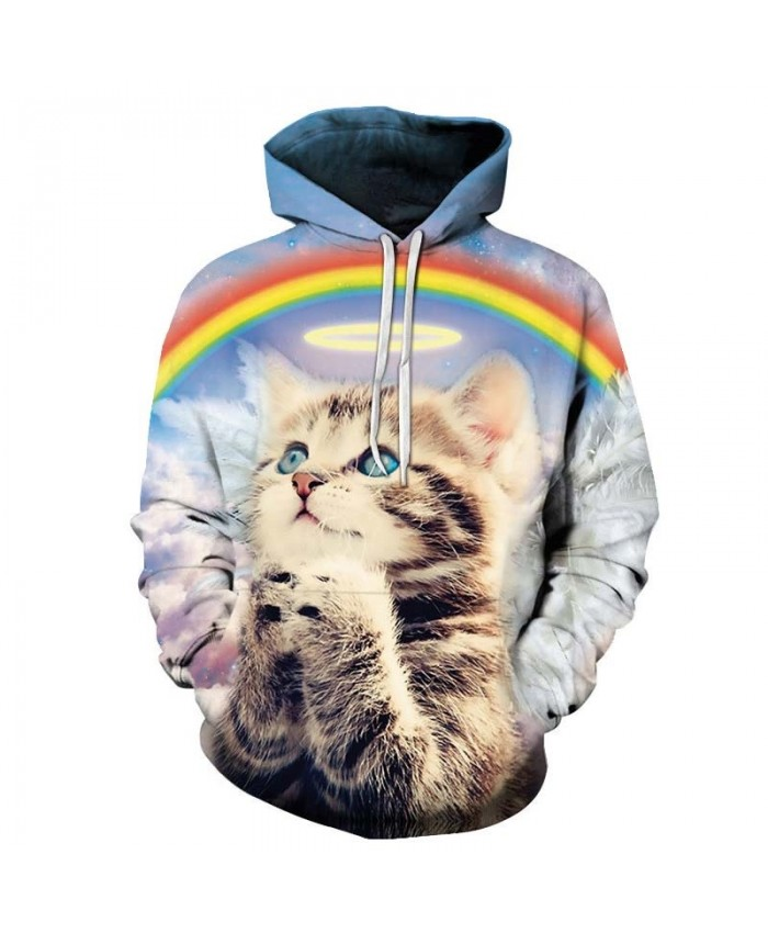 Cat Looking Up To The Sky Mens Pullover Sweatshirt hoodies Pullover Sweatshirt Casual Hoodie Long Sleeve Tops Men