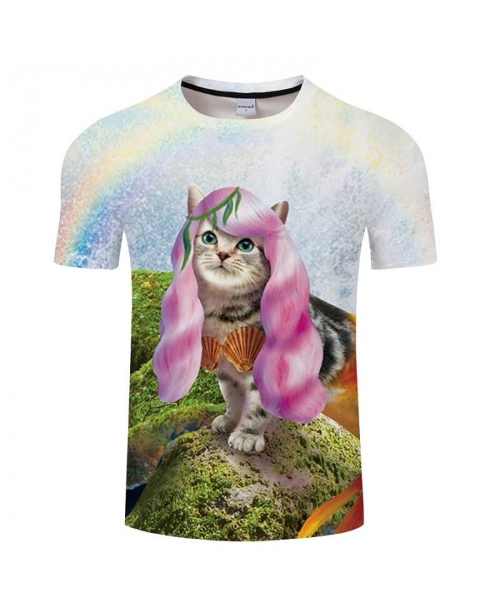 Cat Print Animal Men T-shirt harajuku tshirt Summer Casual Casual Fashion Hip Hop Top Anime Tee Unisex Drop Ship