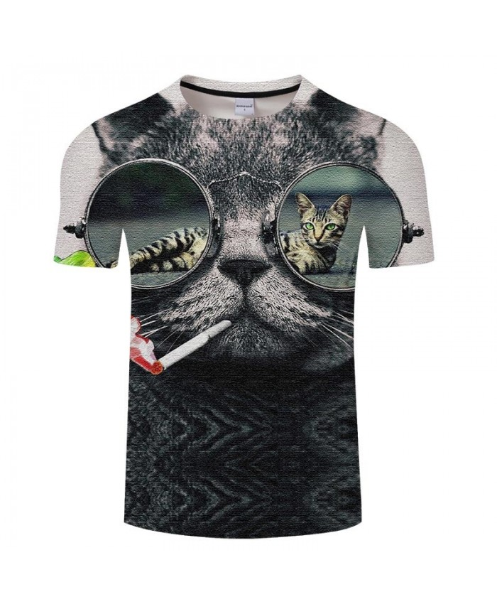 Cat Pumping Colored Smoke 3D Print Men tshirt Crossfit Shirt Casual Summer Short Sleeve Male tshirt Brand O-neck Men