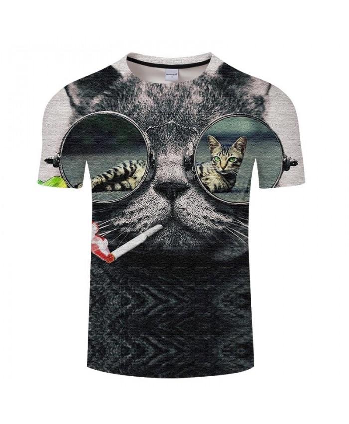 Cat Pumping Colored Smoke 3D Print Men tshirt Crossfit Shirt Casual Summer Short Sleeve Male tshirt Brand O-neck Men
