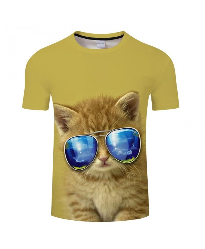Cat Sunglasses 3D Printed Men tshirt Crossfit Shirt Casual Summer Short Sleeve Male tshirt Brand Round Neck Men