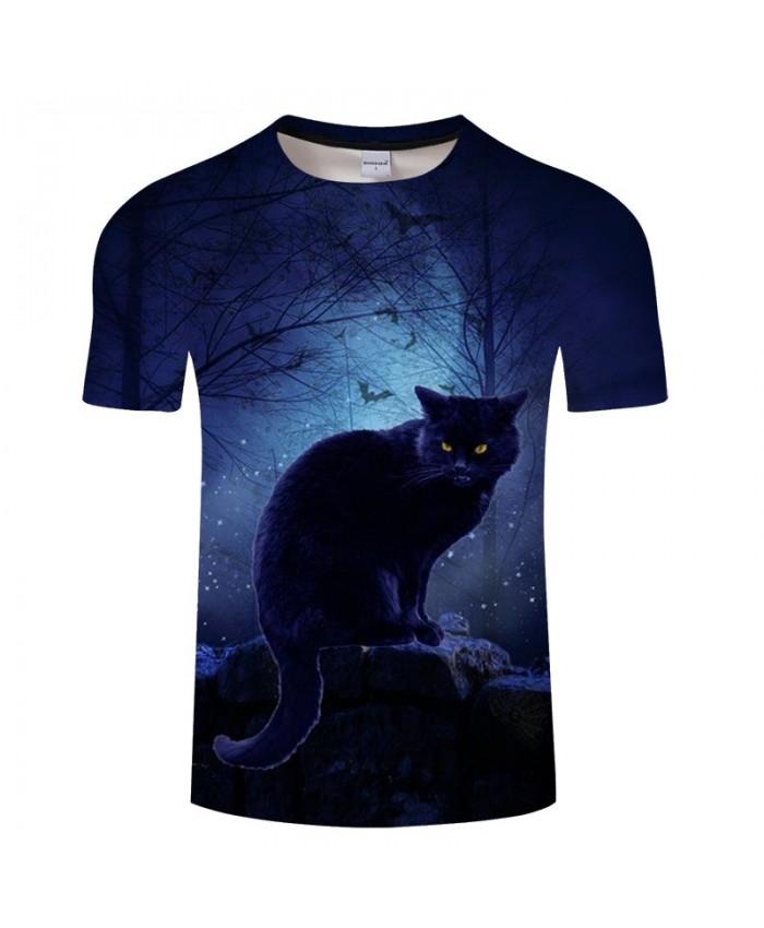 Cat Under The Moonlight 3D Printed Men tshirt Crossfit Shirt Casual Summer Short Sleeve Male tshirt Brand O-neck Men