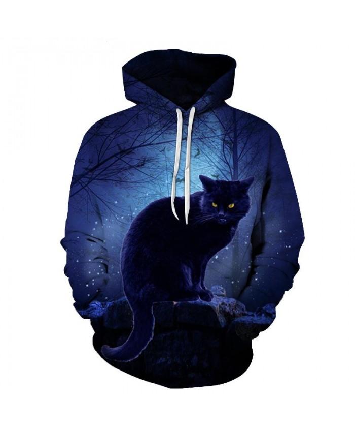 Cat Under The Night Light 3D Print Mens Pullover Sweatshirt Pullover Casual Hoodie Men Streetwear Sweatshirt Hoodie