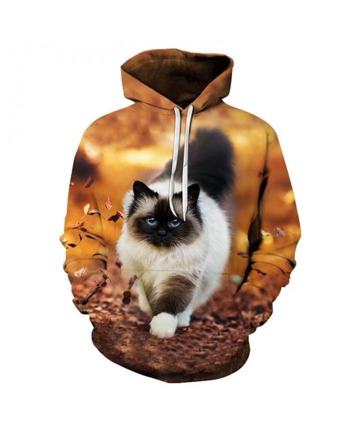 Cat Walking In The Leaves 3D Print Mens Pullover Sweatshirt Pullover Casual Hoodie Men Streetwear Sweatshirt Hoodie