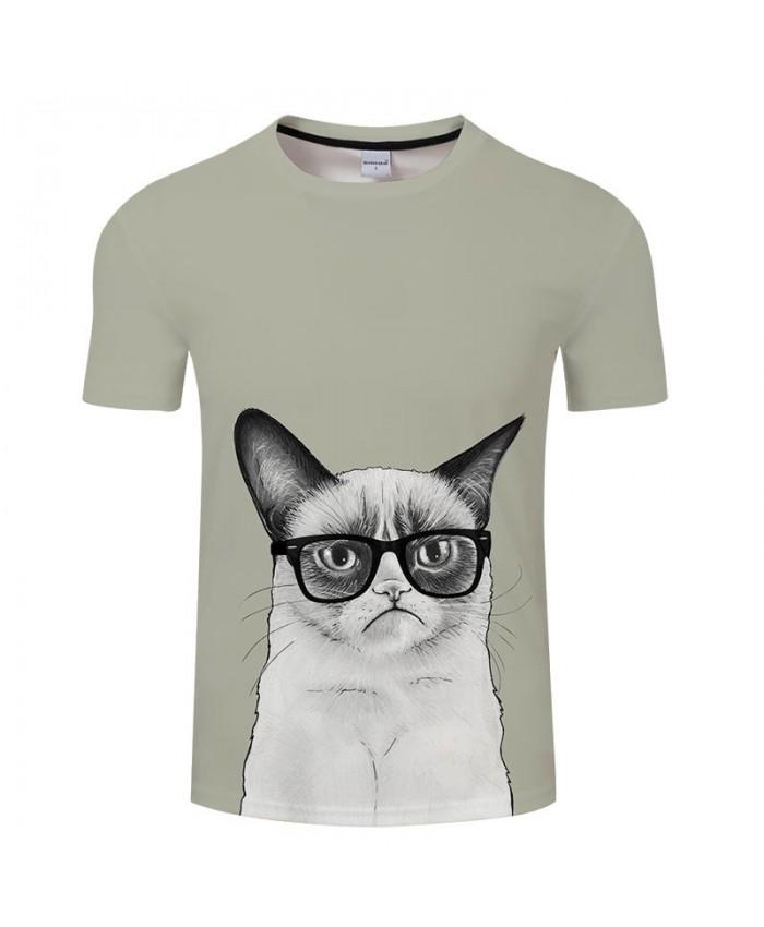 Cat Wearing Glasses 3D Printed Men tshirt Crossfit Shirt Casual Summer Short Sleeve Male tshirt Brand Round Neck Men