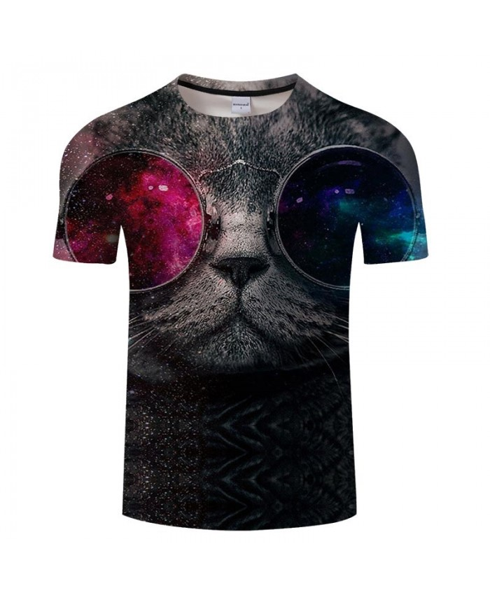 Cat Wearing Star Glasses 3D Print Men tshirt Crossfit Shirt Casual Summer Short Sleeve Male tshirt Brand O-neck Men