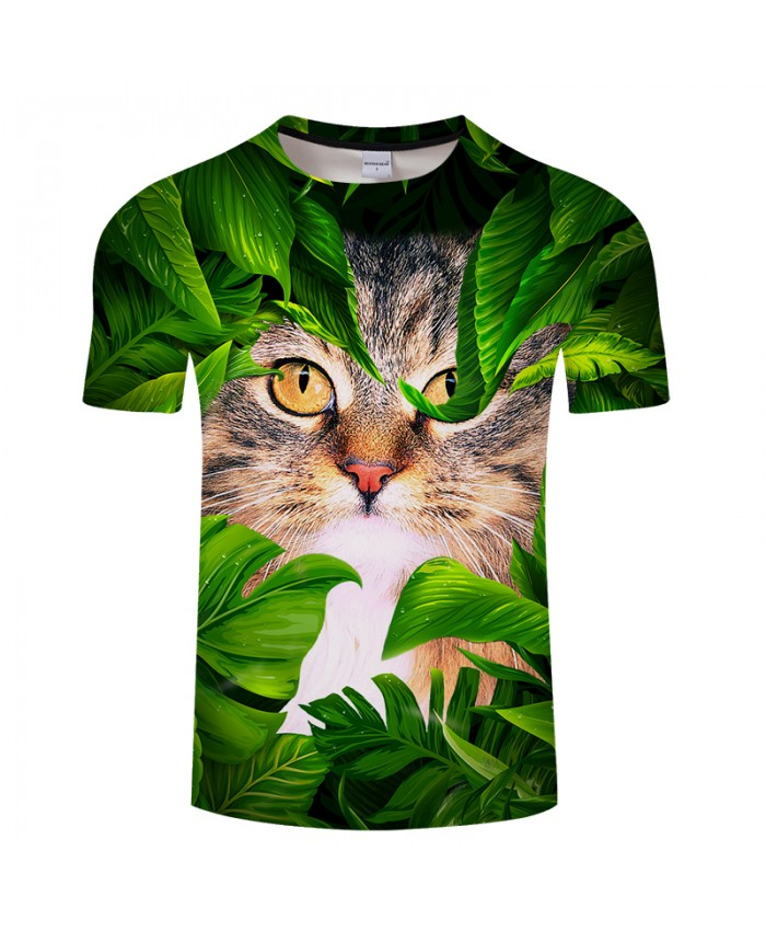 Cat&leaf Print 3D T shirt Men Women tshirt Summer Funny Short Sleeve O-neck Tops&Tees 2021 Hot Sale Unisex Drop Ship
