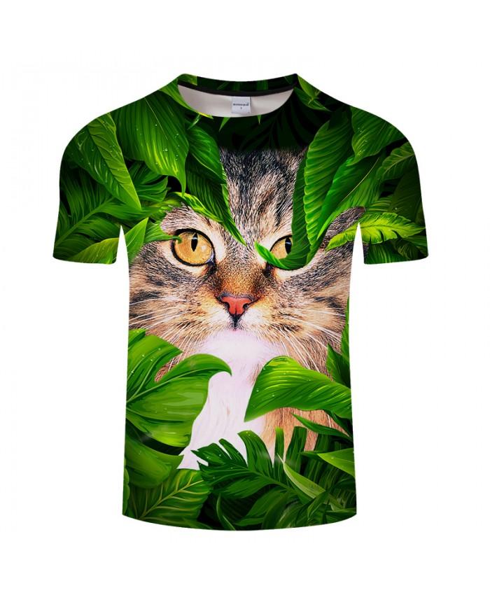 Cat&leaf Print 3D T shirt Men Women tshirt Summer Funny Short Sleeve O-neck Tops&Tees 2018 Hot Sale Unisex Drop Ship