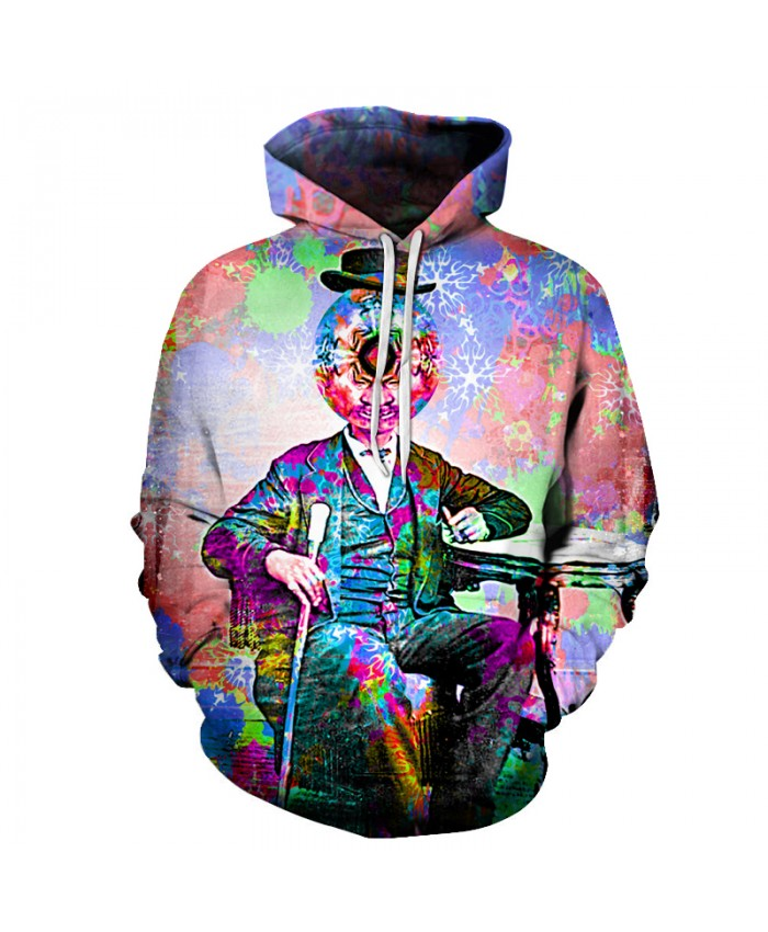 Character Pirnted Unisex 3D Printed Hooded Sweatshirt Casual Pullover Hoodie with Big Pockets