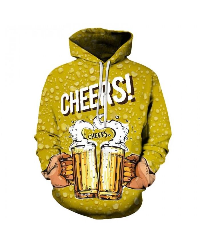 Cheers Beer 3D Print Men Pullover Sweatshirt Pullover Hoodie Casual Hoodies Fashion Men Hoodie Streetwear Sweatshirt