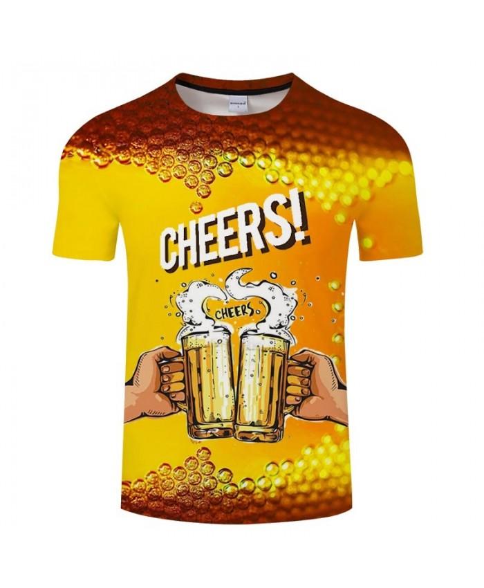 Cheers Beer 3D Printed Men tshirt Crossfit Shirt Casual Summer Short Sleeve Male tshirt Brand Men Round Neck Loose