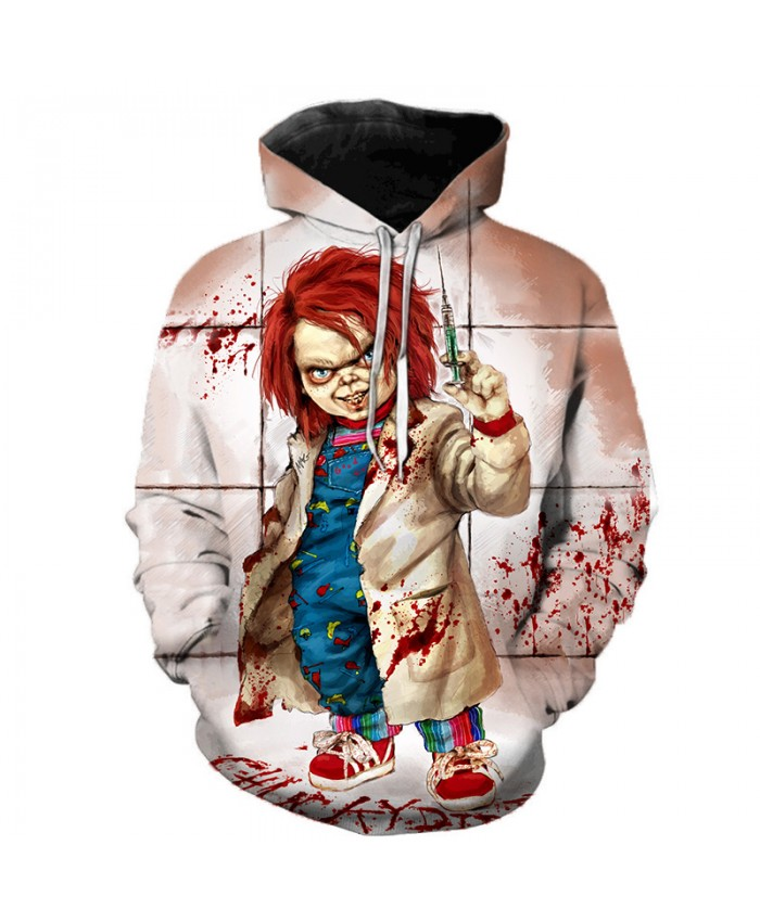 Child's Play Chucky 3D Hoodie Sweatshirts Men Women Horror Movie IT Clown Casual Pullover Halloween Streetwear Oversized Hoodies