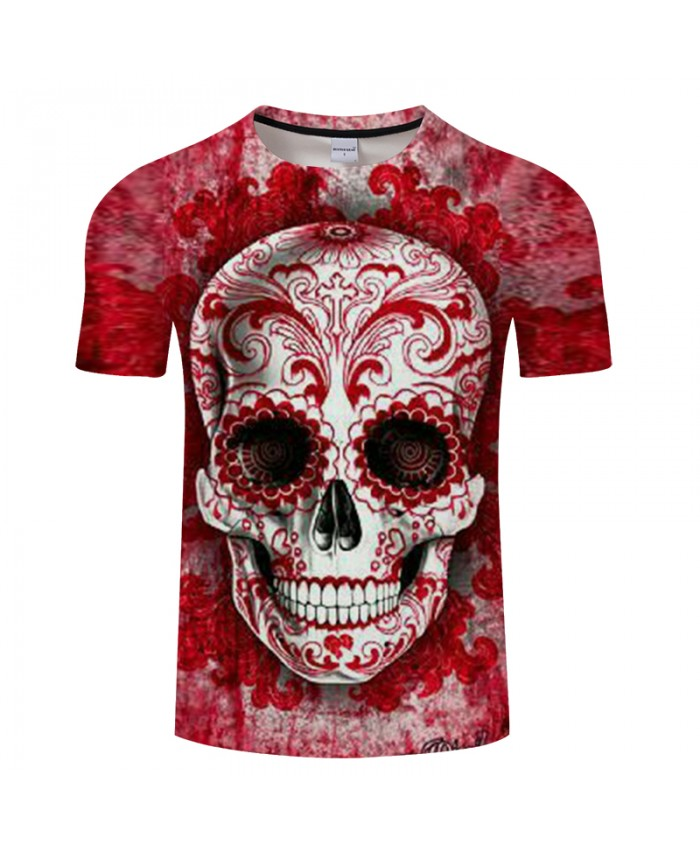 Christianity Skull 3D Print t shirt Men tshirts Summer Casual Short Sleeve O-neck Tops&Tees Streetwear Red Drop Ship