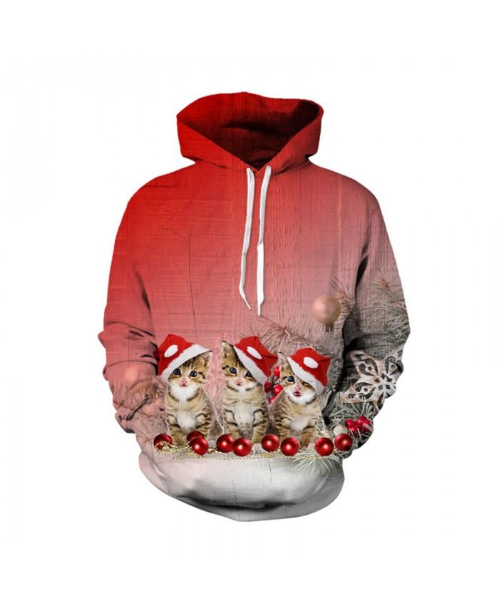 Christmas Cat Hoodies Sweatshirt Men Women Sudaderas Hombres Tracksuit Moletom Sportswear Pullover