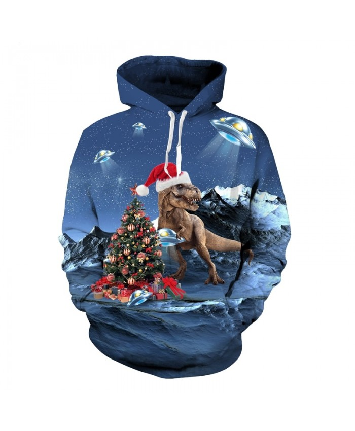 Christmas Dinosaur Hoodies Sweatshirt Men's 3d Print Pullover 2021 Autumn Winter Hip Hop Tracksuit Hoody Tops Dropship
