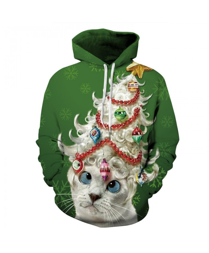 Christmas Funny Cat Hoodies Men's Sweatshirt Hoody 2021 Autumn Spring Hip Hop Clothing Unisex Streetwear Dropship Tops