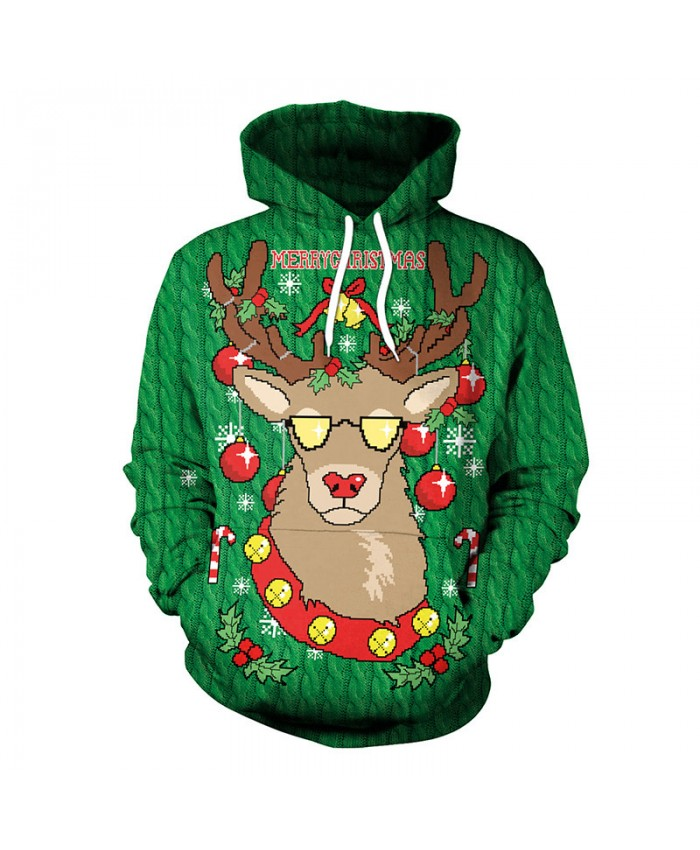 Christmas Stag Sweater Unisex Men Women Vacation Santa Elf Pullover Funny Sweaters Tops Autumn Winter Clothing