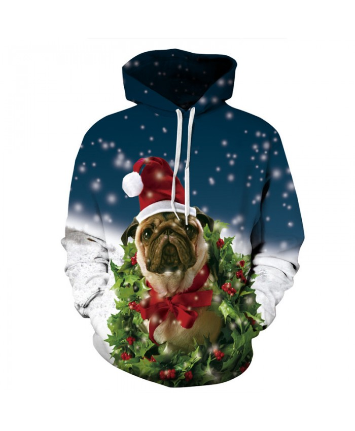 Christmas Style Cute Puppy Printing Neutral Hoodie Dog Sweatshirt