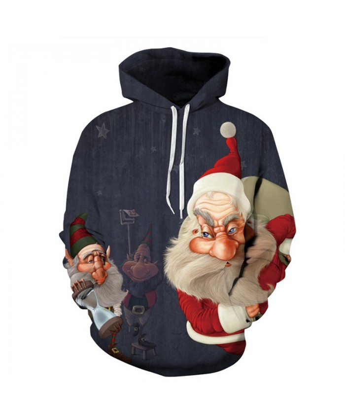 Christmas Style Funny Dwarf Santa Claus Neutral Hooded Sweatshirt Fashion Pullover sweatshirt 3D Pattern Print Hoodies Men Women Casual Sweatshirt