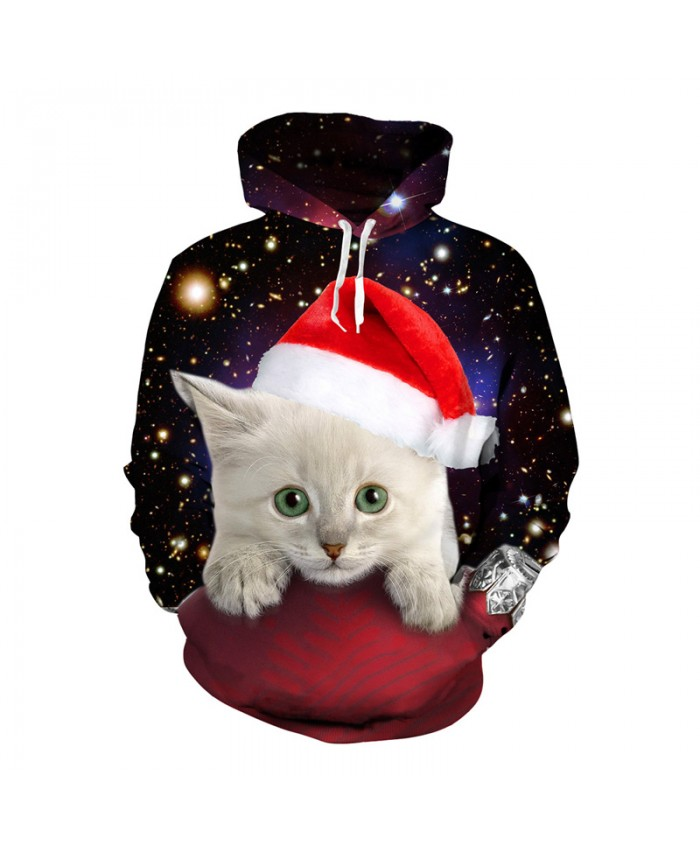 Christmas White Cat Hoodies 3d Print Hoody Sweatshirt EUR Size Tops Cute Animal Unisex Hip Hop Tracksuit Pullover