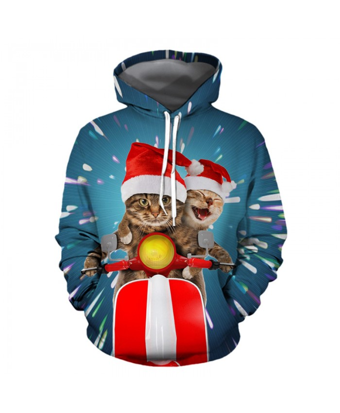 Christmas cat riding a motorcycle Christmas Hoodies 3D Sweatshirts Men Women Hoodie Print Couple Tracksuit Hooded Hoody Clothing