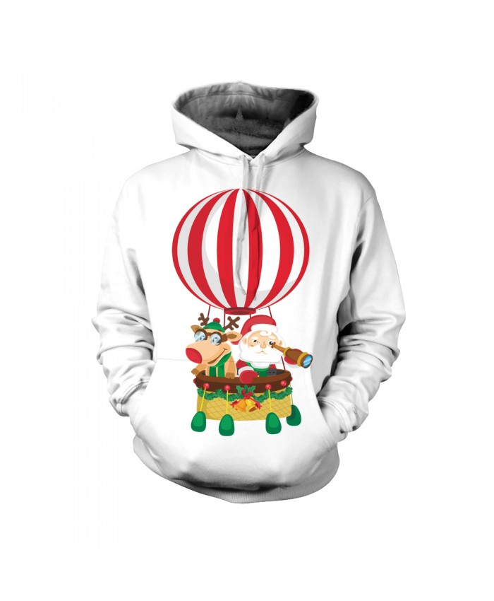 Christmas hot air balloon on the pattern of Santa Claus Funny Fashion Christmas Hoodie Sweatshirt