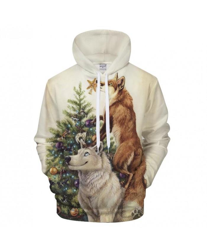 Christmas tree Hoody 3D Wolf Hoodies Men Women Sweatshirt Streatwear Tracksuit Harajuku Coat Unisex Pullover DropShip