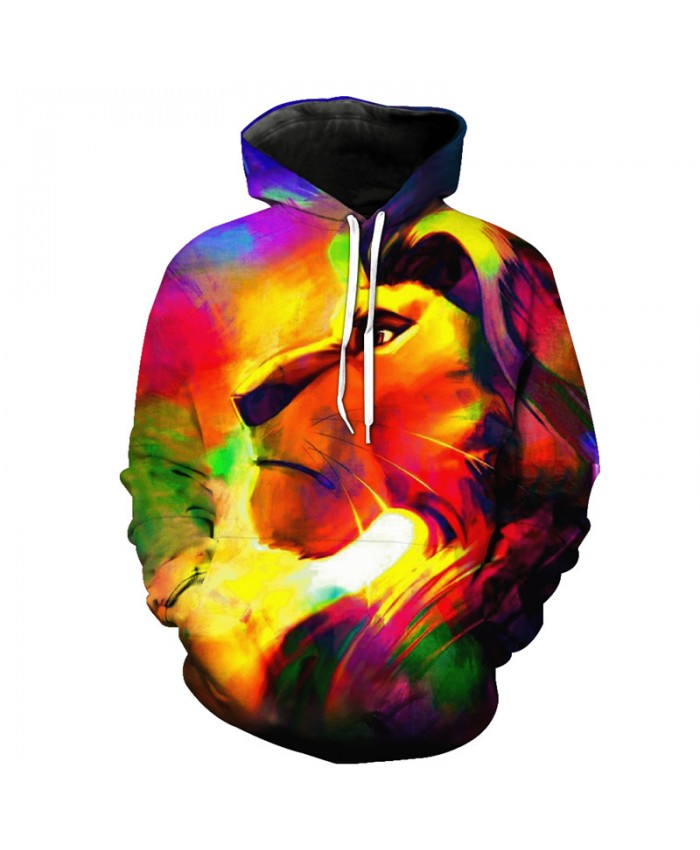 Color Anime Lion Print Fashion Neutral Hooded Sweatshirt Autumn Street Pullover Casual Hoodie Autumn Tracksuit Pullover Hooded Sweatshirt