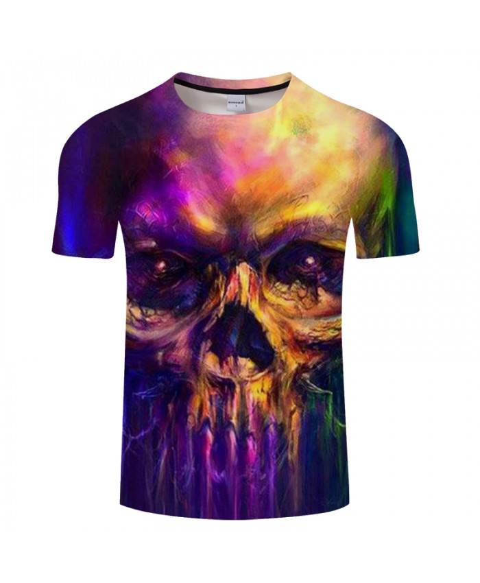 Color Skull 3D t shirt Men tshirts Summer T-Shirt Short Sleeve Tops Printed Casual Tees Hot Groot Camiseta Drop Ship