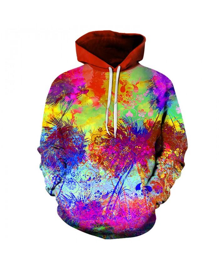 Colorful Flower Printed Sweatshirt Men Women Hoodies Fashion Hoodie Sweatshirts Long Sleeve Pullover Sweatshirt For Lovers