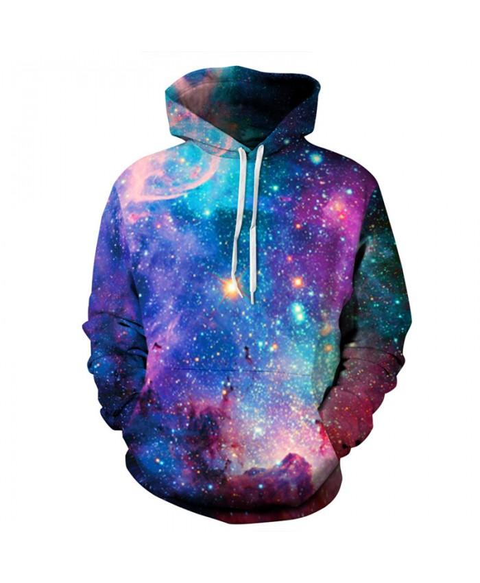 Colorful Galaxy Print Men Women Casual Hooded Sweatshirt Fashion Pullover