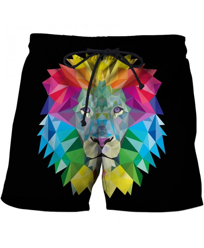 Colorful Lion Face 3D Printed Board Shorts Elastic Waist Beach Shorts Summer 2019 New Male Clothing Short Trousers