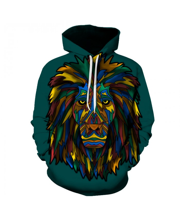 Colorful Lion Hooded Sweatshirts Men Women 3D Pullover Animal Printed Hoodies 6XL Quality Hot Tracksuits Autumn Jacket Outwear