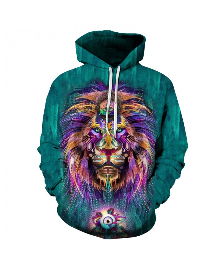 Colorful Lion Hoodie Sweatshirt Men Tracksuits Fashion Pullover Animal Boy Jackets Unisex Coats Autumn Outwear New 6XL Plus Size