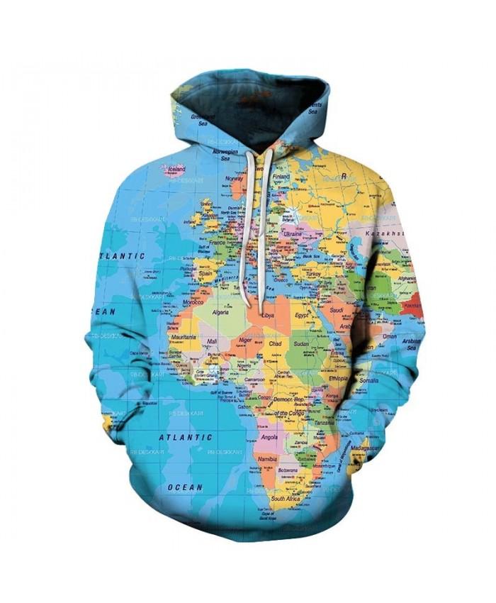 Colorful Map 3D Printed Men Pullover Sweatshirt Pullover Hoodie Casual Streetwear Sweatshirt Fashion Men Hoodie