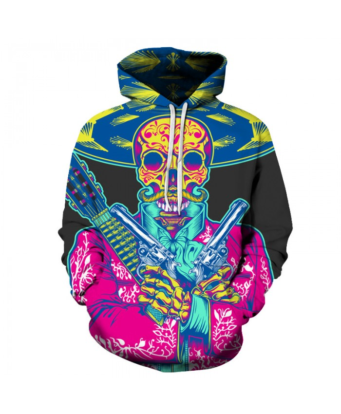 Colorful Skull 3D Sweatshirts Men/Women Hoodies With Hat Print Fashion Autumn Winter Loose Thin Hooded Hoody Tops