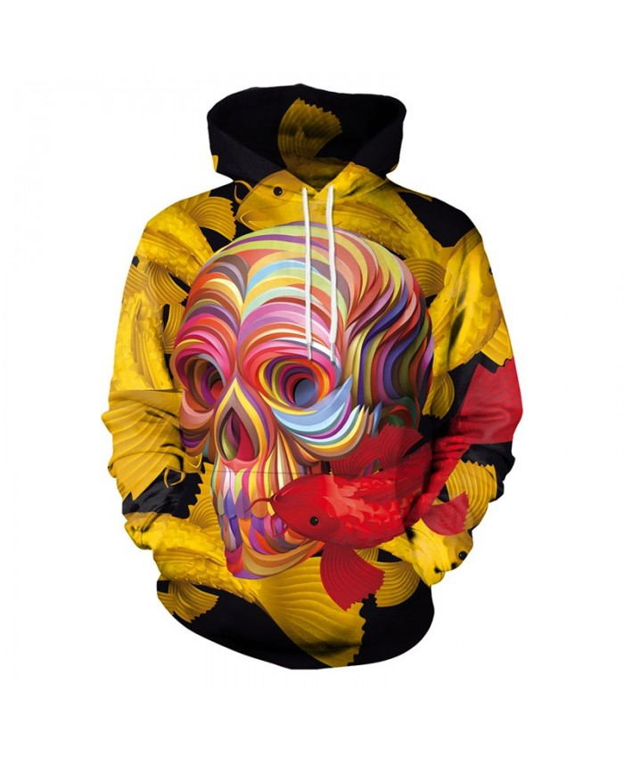 Colorful Skull Hoodies Men Women 3d Sweatshirts With Hat Hoodies Hand Painted Print Colorful Blocks Skull Hooded Hoodies