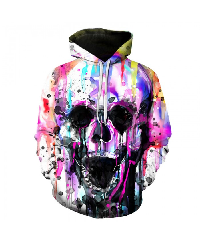 Colorful Skull Printed Hoodies Men Women Sweatshirts 3D Novelty Streetwear Pullover Autumn Winter Hip Hop Rock Fashion Jacket
