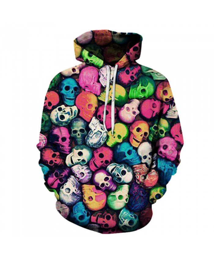 Colorful Skulls Hoodies 3D Prints Hoody Sweatshirt 2021 Street Style Tracksuit Pullover Mens Clothing Drop Ship