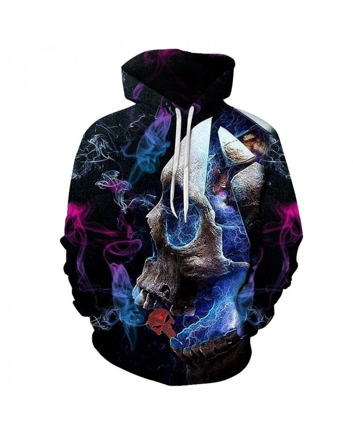 Colorful Smoke Printed Hoodies Unisex Mens Skull Hoodie 2021 Autumn Sweatshirt Pullover Streetwear Drop Ship