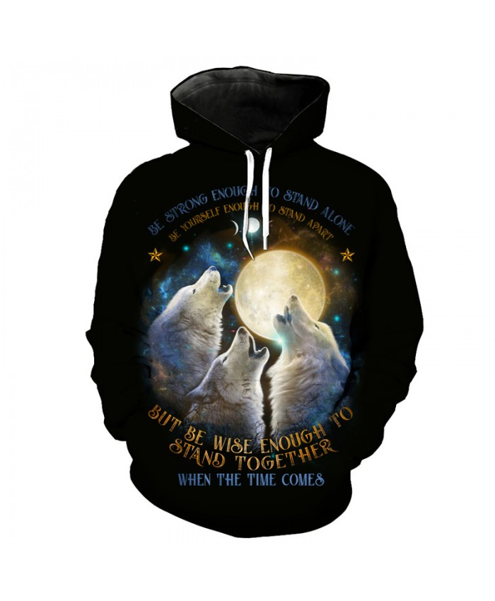 Colorful Three Wolf Howling Printing Fashion Neutral Pullover Cool Hooded Sweatshirts Men Women Casual Pullover Sportswear