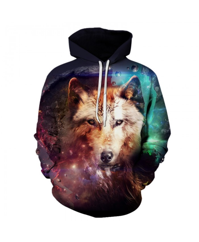Colorful Wolf 3D Sweatshirts Men/Women Hoodies With Hat Print Fashion Autumn Winter Loose Thin Hooded Hoody Tops