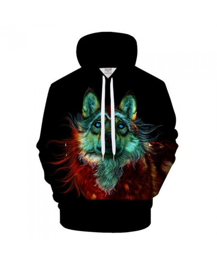 Colorful Wolf Hoodies 3D Sweatshirt Men Women Hoody Streatwear Tracksuit Harajuku Coat Pullover Unisex 6XL Drop Ship