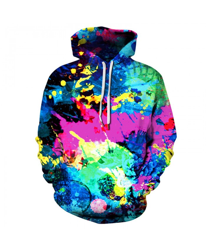 Colorful graffiti fashion streetwear couple hooded sweatshirt pullover