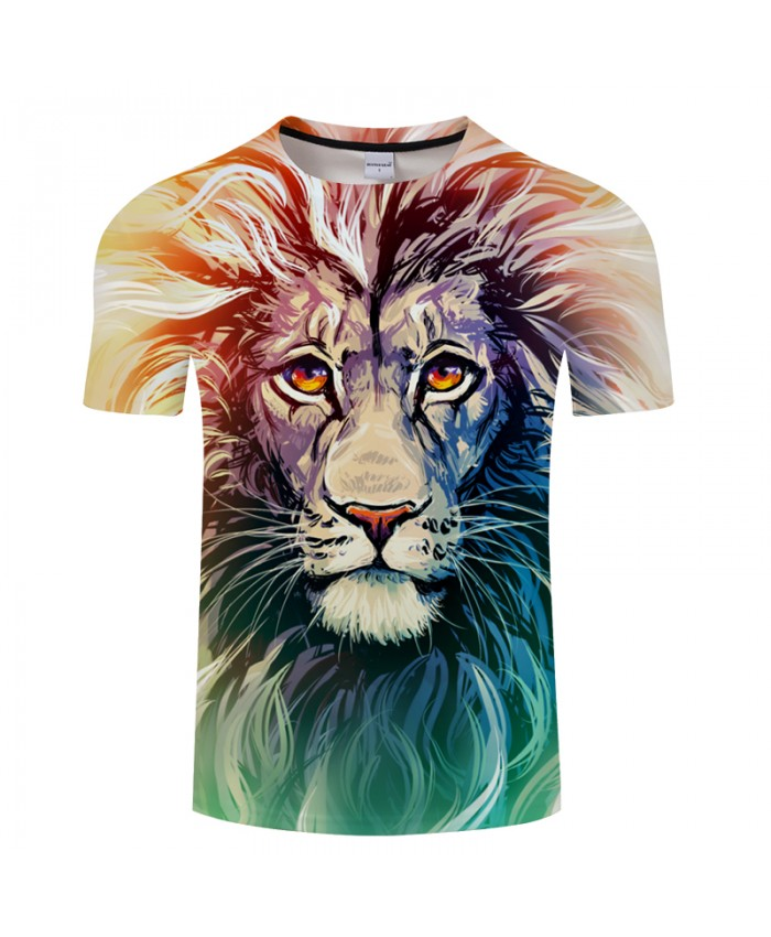 Shirts Short Sleeve Kids Tee Unisex Youth 3D Lion Head Cool 3D Printing T
